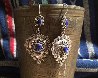 Vintage Lapis Earrings...Sterling Silver Earrings...Handmade Vintage Earrings...Ethnic...Hippie...Gypsy...Gift...1970s...Vintage Shop