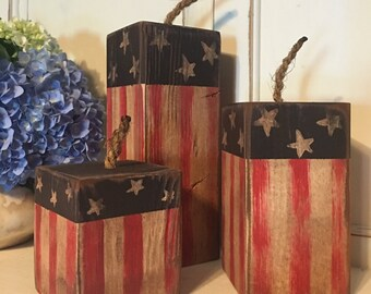 3 piece Fourth of July Wood Firecracker Set, 4th of July Decor, Table Decoration, Wood Decor, Fourth of July decor, Independence Day
