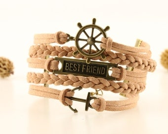 Best friend Wheel Anchor bracelet Best friend jewelry Best friend anchor bracelet Beige suede cord Bff bracelet Friendship bracelet nautical