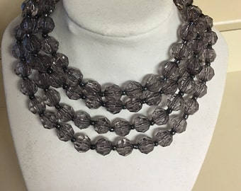 Gray long beaded necklace