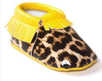 Cheetah and Yellow Leather Moccasins