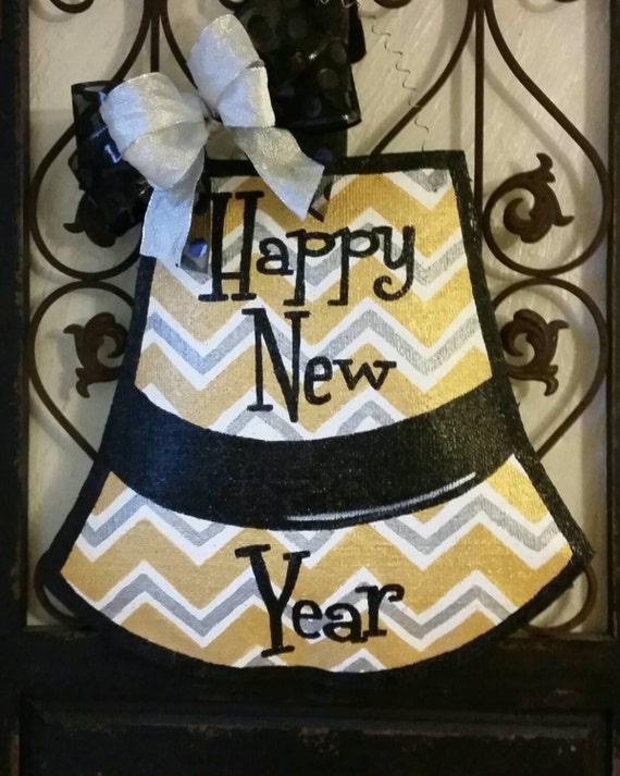 Happy New year door decor. Hand painted burlap door hanger.