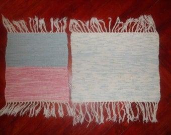 on sale Norwegian hand Woven Vintage Cotton/Linen rag rug Runner with Fringes -2PC RETRO