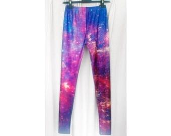 Legging galaxy blue violet pink cosmos