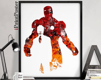Iron Man print, Avengers print, Superhero poster, Marvel print, Marvel abstract print, Wall art, Gift for him, Home Decor, iPrintPoster.