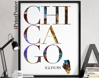 Chicago Illinois state poster, Chicago Illinois print, Chicago Illinois state map, Chicago print, Art, Wall art, Home Decor, iPrintPoster.