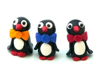Penguins, Penguin figurine, Penguin Xmas, Fimo Penguin, holiday