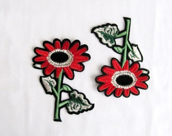 Percile Daisy Patch,Red Daisy Appliques,2PCS.Floral Patch,Red Flower Applique,Sew On Patches