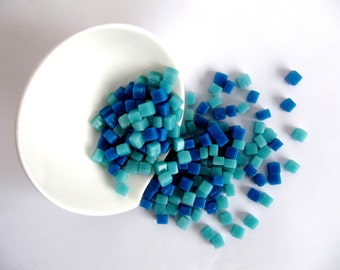 Mosaic Tiles 100 pcs.AQUA 100 pcs. BLUE Mosaic Supplies Mosaic Tiles Mosaic Art  Home Decor Suquared Tiles DIY Kit Craft Supplies