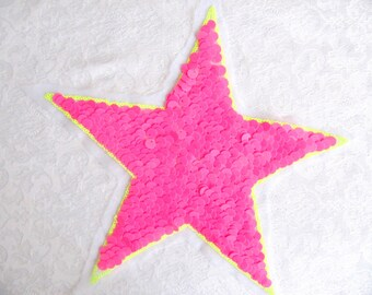 Neon Star/Pink Sequins Patch/ Star Applique/ Sew On Patch /Fashion  Embellisment/  DIY Craft/ Costume Applique/ Patch
