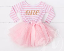 First Birthday outfit dress with gold letters and pink tutu for girls or toddlers Long Sleeve Dress, Long Sleeve outfit