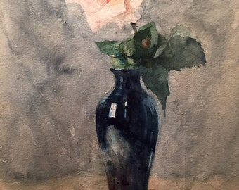 Pink rose in a vase (antique watercolor painting)