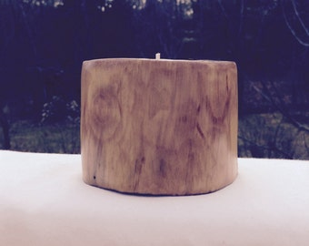 Hand carved wooden candle holder