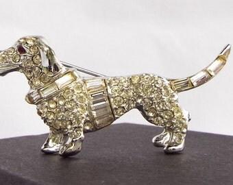 Vintage Silver Tone Rhodium Plated Faux Diamond Rhinestone Crystal Dachshunds Weiner Puppy Dog Brooch Pin