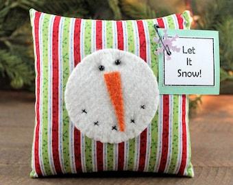 Mini Pillow Snowman Cupboard Tuck Country Primitive Christmas