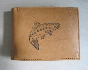 "Mankind Wallets Men's Leather RFID Blocking Billfold w/ ""Large Trout"" Image~Makes a Great Gift!"