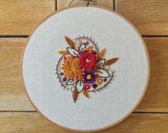 Floral Embroidery Hoop Art- Hoop Art - Wall Art - Home Wall Art - - Home Decor - Wall Hanging