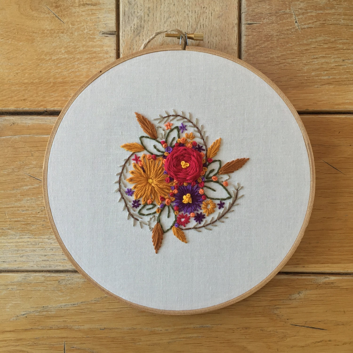 Vintage inspired floral embroidery hoop art gift for mom