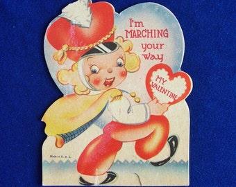 1930's Marching Band Drum Major Valentine Die Cut Card