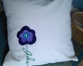 Customized by name 16x16 embroidered pillow cover *flower style*