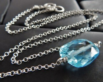 Simple Sky Blue Topaz and Sterling Silver Necklace, Healing Gemstone, Topaz Necklace, December Birthstone Necklace, Blue Gemstone Necklace