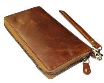Extra large ladies wallet of natural Brown/Cognac Leather Leather art. 1117