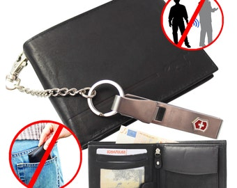 Leather Men Wallet Men's with Removable Chain from Victorinox © Strong . Prevents Pickpocket