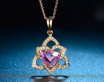Trilliant Cut Rubellite Red Tourmaline 18k Rose Gold Pendant Necklace Wedding Birthday Valentine's Mother's Day