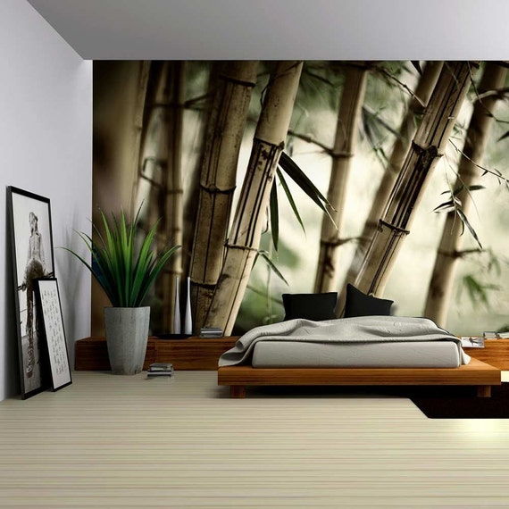 Close up views of a bamboo forest wall mural 100x144 inches for Bamboo forest wall mural