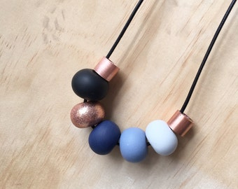 """Polymer clay bead necklace. black copper blue grey navy and copper metal beads! """"the kiara"""" 7 beads"""