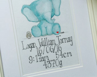 Personalised baby nursery watercolour painting