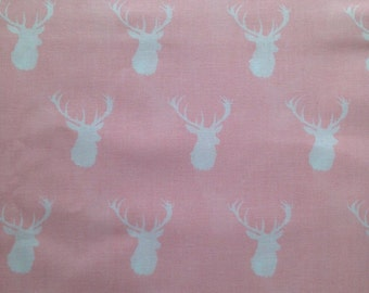 Custom Fitted Crib Sheet OR Changing Pad Cover OR Pack N' Play Sheet Pale Pink White Stag Deer