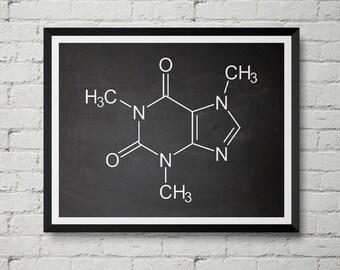 Caffeine Molecule Print - Cafe, Coffee, Drink, Chemistry, Schematic, Vintage, Blueprint, Wall Decor, Wall art, Cool Gift!