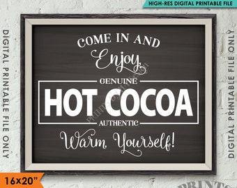 """Hot Cocoa Sign, Hot Chocolate Sign, Warm Yourself Cocoa Holiday Decor, 8x10/16x20"""" Chalkboard Style Instant Download Digital Printable File"""