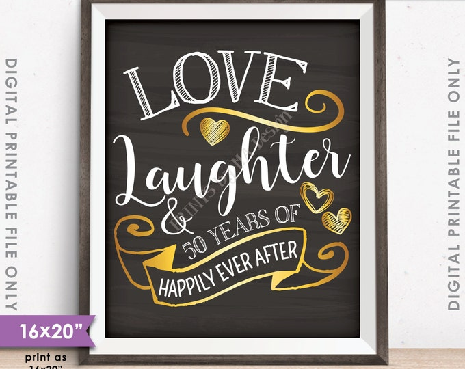 """50th Anniversary Gift, Love Laughter Happily Ever After 50 Years of Marriage Milestones, 16x20"""" Instant Download Digital Printable File"""