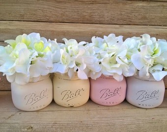 Spring Decor, Spring Shower Decor,Pastels, Bridal Shower Decor,Pink,Purple,Easter Decor,Painted Mason Jars with Flowers, Baby Shower Decor