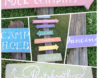 Rustic Directional Signs, Beach Directional Signs, Outdoor Bar Directional Signs, Wedding Bar Signs, Bride & Groom Signature Drink Signs