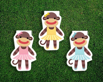 Magnetic Bookmark | Sock Monkey Ballerina Magnet Cute Book Bookmarks Pack of 3, Magnetic, Cute, Quirky, Kawaii, Tutus, Blue, Pink, Yellow