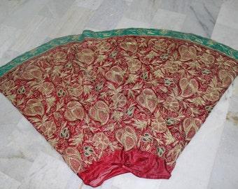vintage zardozi lengha red green color golden thread work ZL11
