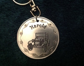 "Personalized Model ""A"" Ford key chain"