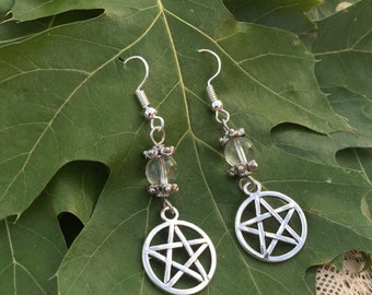 Quartz//Pentacle Handcrafted Earrings