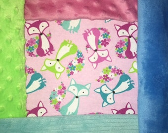 Customized, Personalized Children's/Pet Blanket - Pink Flower Fox