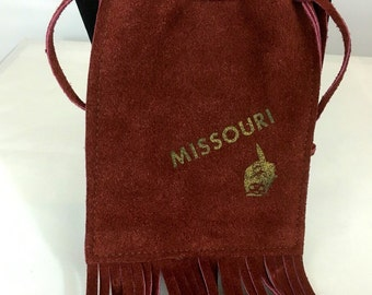 Vtg MISSOURI Small Pouch Purse Maroon Leather Native American Fringe