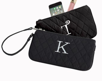 Black Quilted Microfiber Wristlet (c118-1112-2) - Free Personalization
