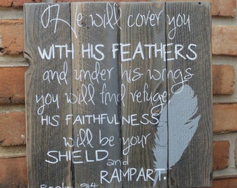 Psalm 91:4 pallet sign