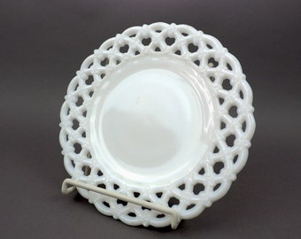 "Westmoreland Milk Glass Plate, Forget Me Not Triple Row, set of 2, Vintage Opal Glass Stamp Plate, 8"" Open Weave Edge,  Priced/Pair"