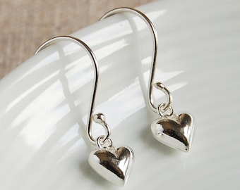 Tiny Silver Heart Drop Earrings ~ Wedding, Anniversary, Bridesmaid, Birthday Earrings