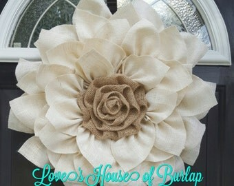 This cream and natural burlap is a perfect year round wreath! Flower Wreath, Burlap Wreath, Mothers Day wreath, Burlap Flower, Spring Wreath