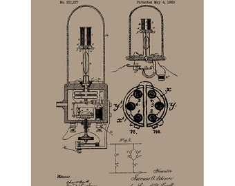 Electric Light - Electricity and Power - Patent Poster Blueprint Style Screen Print - Hand Made Wall Art in Multiple Colors