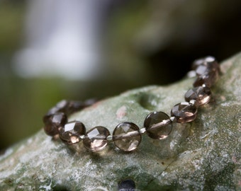 Faceted Smokey Quartz Beaded Bracelet with Thai Hill Tribe Silver